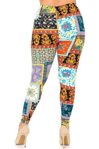 Wholesale Buttery Soft Quilted Brocade Plus Size Leggings