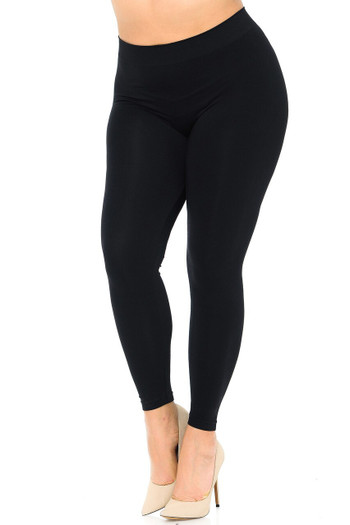 Wholesale Premium Nylon Spandex Solid Basic Plus Size Leggings