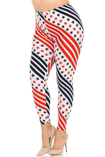 Wholesale Buttery Soft Twirling Stars and Stripes USA Flag Plus Size Leggings