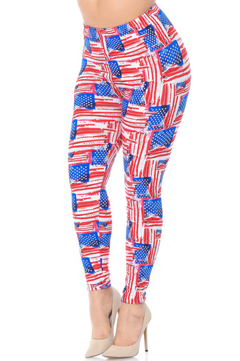 Wholesale Buttery Soft Watercolor USA Flag Plus Size Leggings