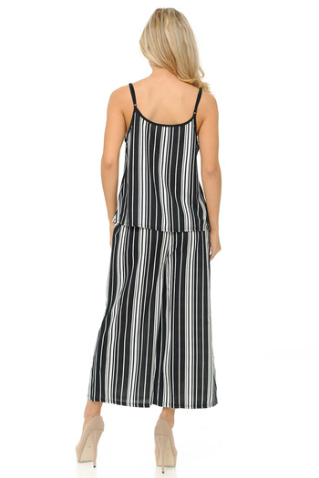 Wholesale White Stripes Summer Palazzo Capri and Spaghetti Tank Top Set