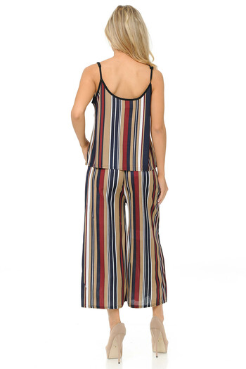 Wholesale Beige Stripes Summer Palazzo Capri and Spaghetti Tank Top Set