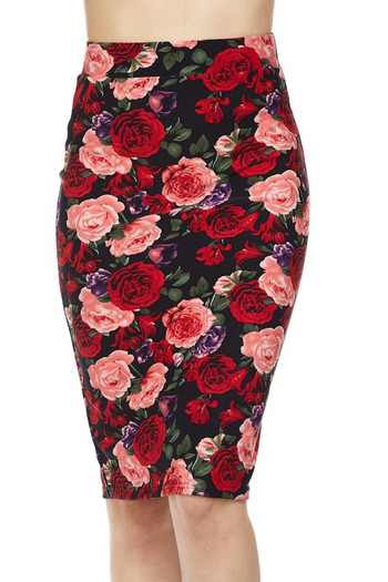 Wholesale Silky Soft Vivid Rose Scuba Pencil Skirt