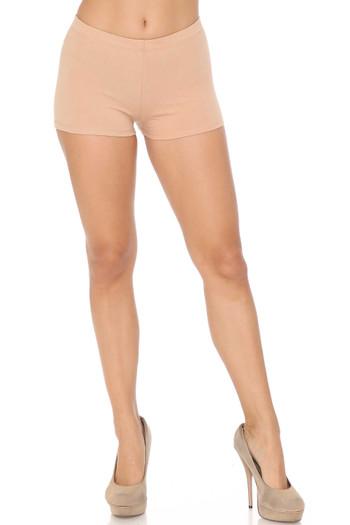 Front Beige Wholesale USA Cotton Boy Shorts