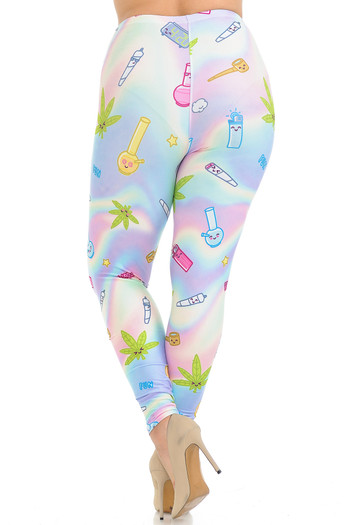 Wholesale Creamy Soft Marijuana Life Extra Plus Size Leggings - 3X-5X - USA Fashion™
