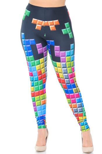 Wholesale Creamy Soft Tetris Plus Size Leggings - USA Fashion™