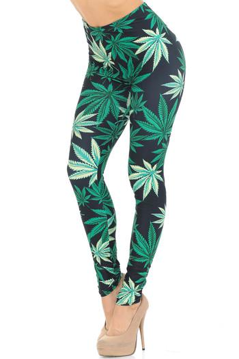 Wholesale Creamy Soft Black Weed Leggings - USA Fashion