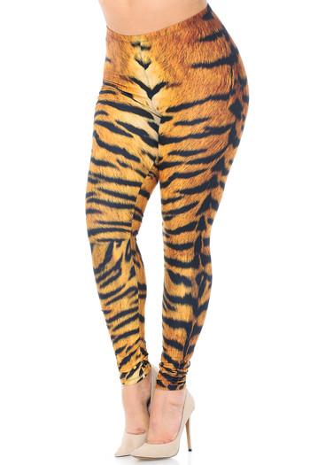 Wholesale Creamy Soft Tiger Print Extra Plus Size Leggings - 3X-5X - USA Fashion™