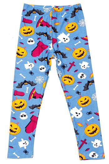 Wholesale Buttery Soft Steel Blue Halloween Motif Kids Leggings