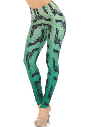 Wholesale Creamy Soft Ombre Green Guns Leggings