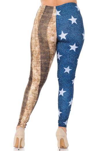 Wholesale Creamy Soft Vintage USA Flag Plus Size Leggings - USA Fashion™