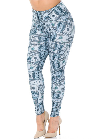 Wholesale Creamy Soft Raining Money Extra Plus Size Leggings - 3X-5X - USA Fashion™