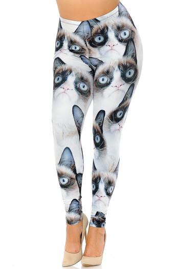 Wholesale Creamy Soft Grumpy Cat Extra Plus Size Leggings - 3X-5X - USA Fashion™