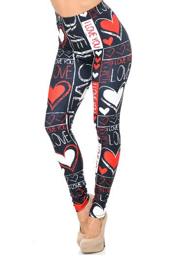 Wholesale Creamy Soft Heart and Love Leggings - USA Fashion™