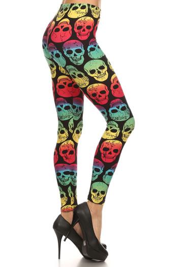 Side Image of Wholesale Buttery Soft Rainbow Skull Leggings