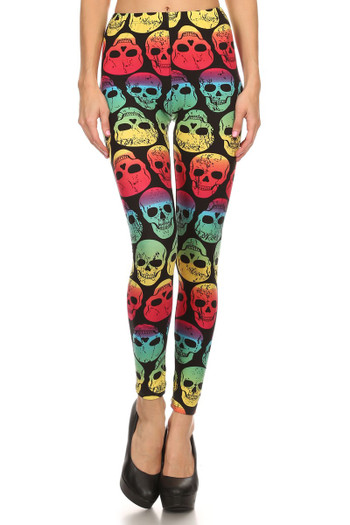 Front image of Wholesale Buttery Soft Rainbow Skull Leggings