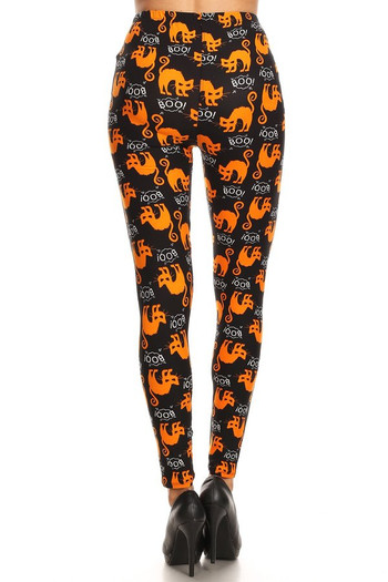Wholesale Buttery Soft Halloween Kitty Cats Extra Plus Size Leggings - 3X-5X