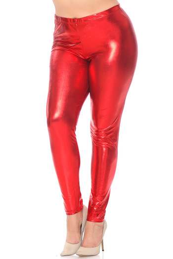 Wholesale Shiny Metallic Plus Size Leggings