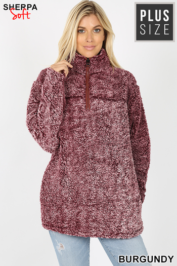 Wholesale Popcorn Sherpa Half Zip Plus Size Pullover with Side Pockets