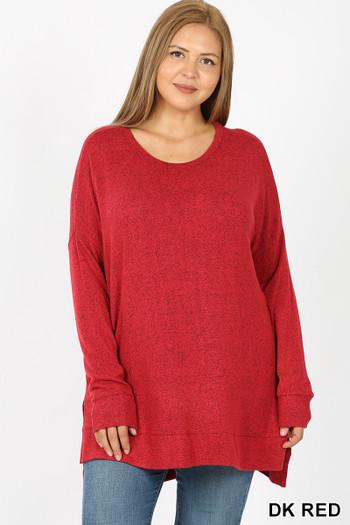 Wholesale Brushed Melange Round Neck HI-LOW Plus Size Top
