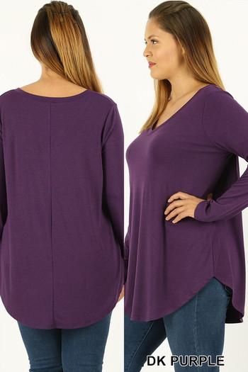 Wholesale Premium V-Neck Round Hem Long Sleeve Plus Size Top
