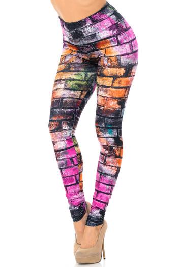 Wholesale Creamy Soft Rainbow Brick Extra Plus Size Leggings - 3X-5X - USA Fashion™