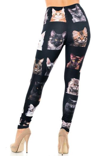 Wholesale Creamy Soft Cute Kitty Cat Faces Plus Size Leggings - Version 2 - USA Fashion™