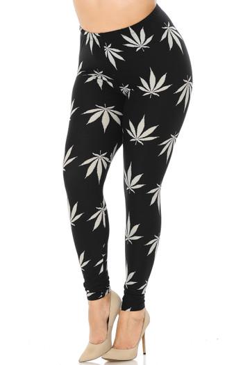 Wholesale Buttery Soft Black Marijuana Plus Size Leggings