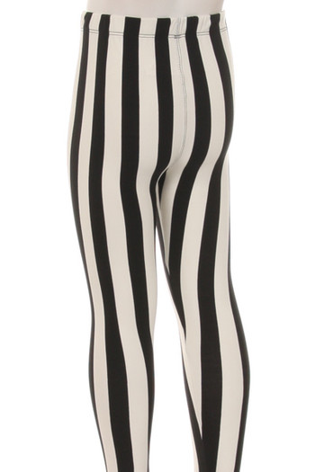 Wholesale Buttery Soft Vertical Black and White Striped Kids Leggings