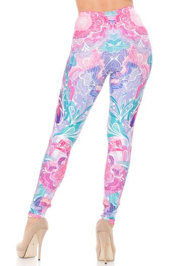 Wholesale Creamy Soft Lavender Pink Botanical Garden Extra Plus Size Leggings - 3X-5X