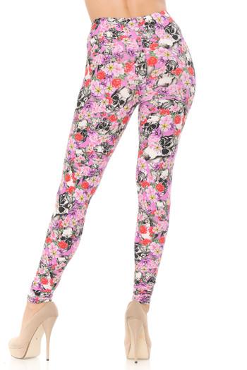 Wholesale Buttery Soft Pink Blossom Skulls Plus Size Leggings