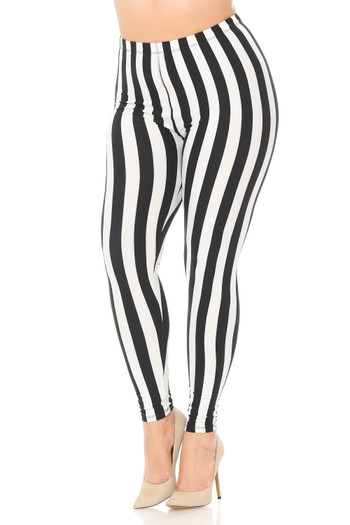 Wholesale Buttery Soft Black and White Wide Stripe Plus Size Leggings