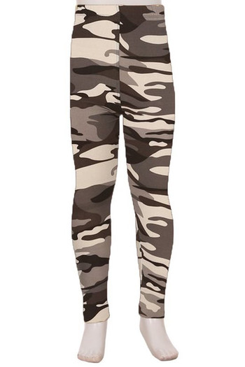 Wholesale Buttery Soft Charcoal Camouflage Kids Leggings - EEVEE