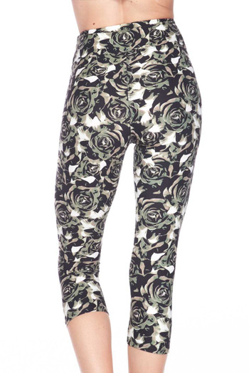 Wholesale Buttery Soft Olive Rose Capris - 3 Inch