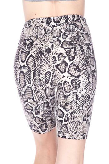 Wholesale Buttery Soft Beige Boa Snakeskin Plus Size Shorts