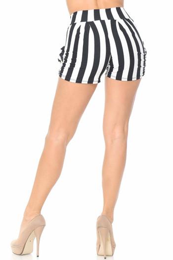 Wholesale Buttery Soft Wide Stripe Plus Size Harem Shorts