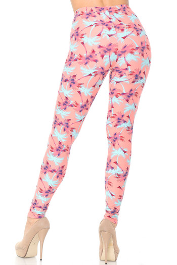 Wholesale Buttery Soft Coral Palm Tree Leggings