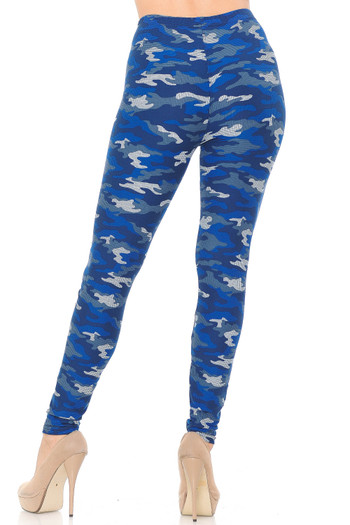 Wholesale Buttery Soft Blue Grid Camouflage Leggings