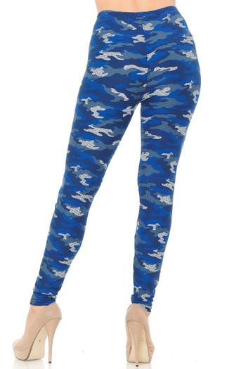 Wholesale Buttery Soft Blue Grid Camouflage Plus Size Leggings