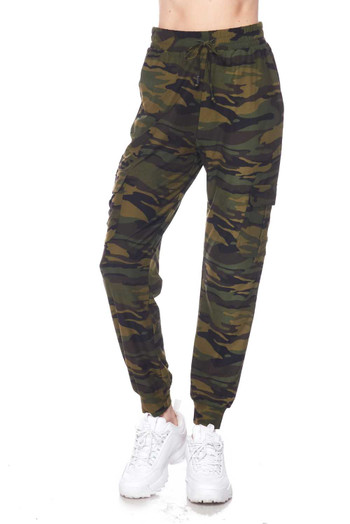 Wholesale Buttery Soft Green Camouflage Joggers