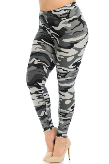 Wholesale Buttery Soft Charcoal Camouflage Plus Size Leggings - EEVEE