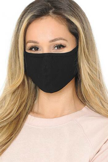 Black Wholesale Unisex Cotton Face Mask with PM2.5 Filter Pocket - Made in USA