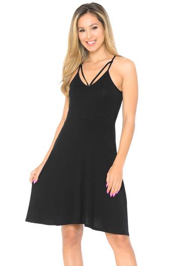 Wholesale Premium Sleeveless V-Strap Rayon Skater Dress