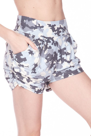 Wholesale Buttery Soft Light Blue Camouflage Plus Size Harem Shorts
