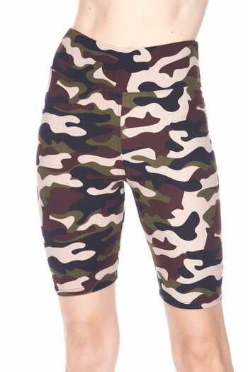 Wholesale Buttery Soft Flirty Camouflage Biker Plus Size Shorts - 3 Inch Waist Band