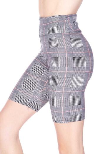 Wholesale Buttery Soft Coral Accent Glenn Plaid Plus Size Biker Shorts - 3 Inch Waist Band