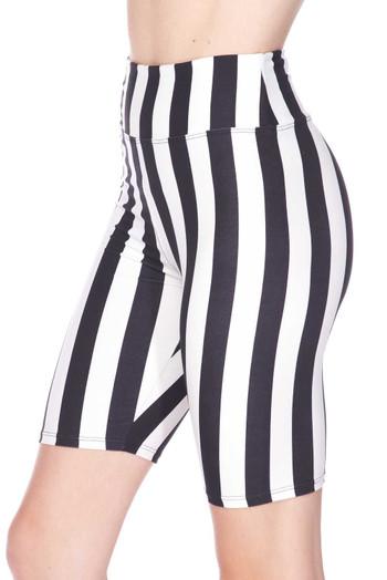 Wholesale Buttery Soft Vertical Wide Stripe Biker Shorts - 3 Inch Waist Band