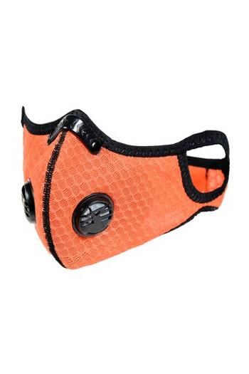 Wholesale Summer Orange Dual Valve Mesh Sport Face Mask with PM2.5 Filter