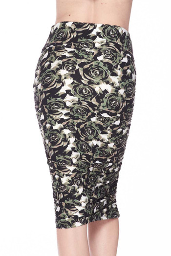 Wholesale Buttery Soft Olive Rose Pencil Skirt