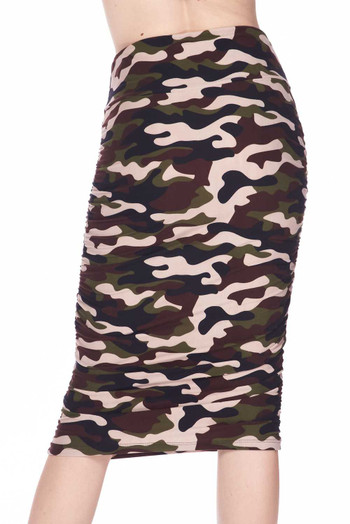 Wholesale Buttery Soft Flirty Camouflage Pencil Skirt
